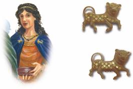 Fibules aux lions A225 et A 226, bronze et pâte de verre, IIe s WEB_modifié-1